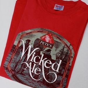 VTG PETES WICKED ALE T SHIRT RED XL